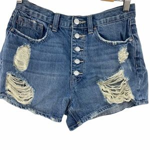 Vigoss | Button Fly Distressed Shorts | 28